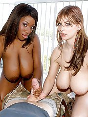 Christy Marks and chesty black girlfriend jerk big cock in threesome