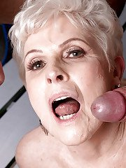 60 plus blonde granny gives big cocks blowjobs in office threesome
