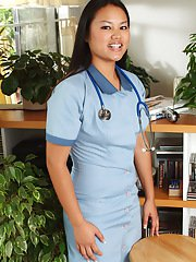 Asian amateur sheds nurse uniform to expose shaved teen pussy