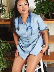 Asian first timer ridding nurse uniform to reveal tiny tits and shaved twat
