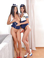 Euro lesbians in uniforms Alexa Tomas and Lorena whip out strapon sex toy