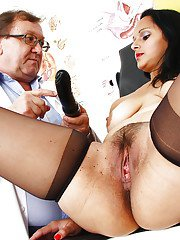 Stocking garbed mature woman Rosita Black having beaver spread by Gyno doc