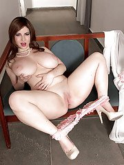 Thick European brunette Karina Hart loosing massive juggs from lingerie