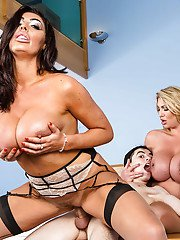 Chesty mature moms Leigh Darby and Ava Koxxx engaging in threesome sex