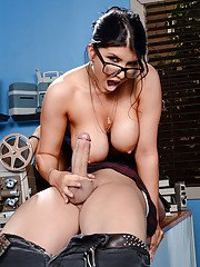 Busty teacher Romi Rain having sex with students big cock in glasses