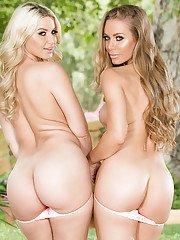 Lesbian pornstars Nicole Aniston and Anikka Albrite free big tits outside