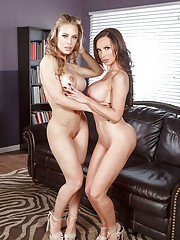 Leggy Euro dyke Luna Star and girlfriend exposing nice lesbian asses