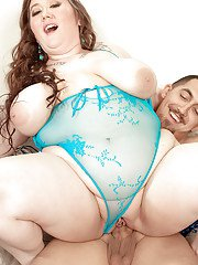 SSBBW Lilli Blue baring huge saggy boobs before hardcore sex with big cock