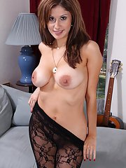 Mesh bodystocking encased older broad Carla 3 revealing shaved pussy