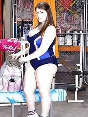 BBW coed Jane Blow unveiling massive all natural hooters while working out