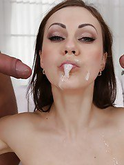European MILF pornstar Tina Kay spits cum after threesome DP in stockings