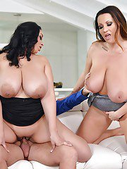 Busty European fatties Anastasia Lux and Laura Orsolya take anal in 3some