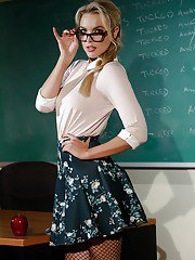 Glasses topped teacher Keira Nicole exposing hairy babe pussy in ponytail