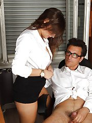 Glasses topped European pornstar Holly Hunter baring big boobs in office