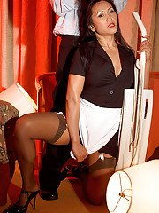 Leggy Asian maid Kitty Langdon blowing and riding cock in nylons and heels