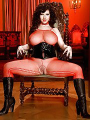 Top heavy Euro babe Karina Hart spreading labia lips in mesh stockings