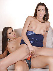 Leggy European lesbians Brandy Smile and Cindy Hope fuck with strapon cock