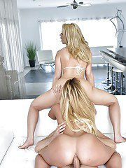 Pornstars Kelsi Monroe and Anikka Albrite take doggystyle anal sex in 3some