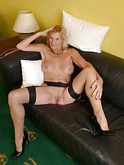 Stocking garbed mature first timer Molly Maracas exposing big breasts