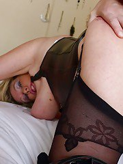Leather adorned amateur European BBW giving BJ before hardcore fuck