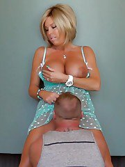 Big boobed blonde housewife Sandra Otterson jerking cock for cumshot