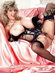 Mature lady Busty Dusty flaunting monster tits in vintage lingerie