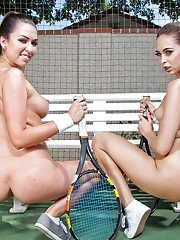 Lesbians pornstars Melissa Moore and Riley Reid bare butts on tennis court