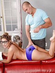 Coed pornstar August Ames baring large tits before massage and hardcore sex