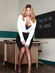 Stocking clad babe Brooklyn Chase exposing big teacher tits in classroom