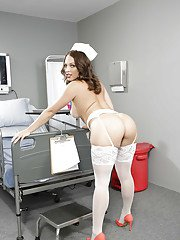 Busty babe Lily Love loosing nice ass from nurse uniform in stockings