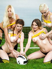 Lesbians in sport socks displaying underboobage before baring big tits