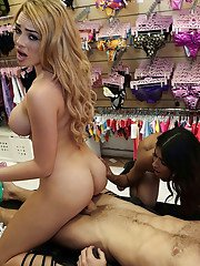 Busty chicks Skyla Novea and Katalina Mills have threesome in public store