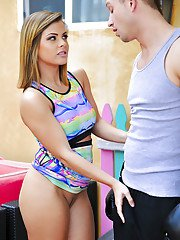 Busty pornstar Keisha Grey getting banged by by cock after giving blowjob