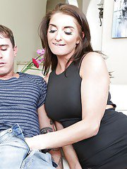 Brunette cougar Silvia Saige giivng handjob and blowjob after upskirt flash