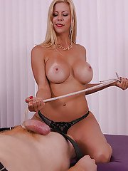 Big boobed blonde dominatrix jerking big cock to cumshot conclusion