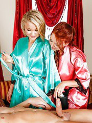 Janet Mason and Kota Sky give sensuous older and younger BJ and handjob
