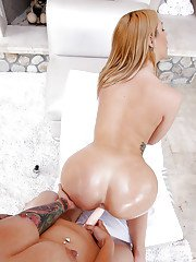 Lesbian first timers Jenna Ashley and Katrina Jade lick and toy oiled twats