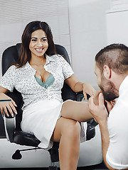 Leggy Latina Julia De Lucia sucking and fucking large cock in office