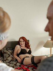 Red hair stepmom in lingerie teaching blonde stepdaughter how to give BJ