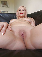 Busty blonde first timer Misha Mayfair revealing shaved vagina