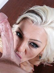 Blonde MILF Cameron Dee taking facial cumshot after ball licking blowjob
