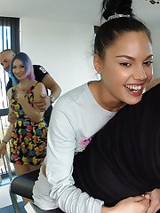 Clothed Euro girls Apolonia and Penelope Cum give huge dick messy double BJ
