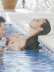 European brunette Martina Gold having hot couple sex in swimming pool