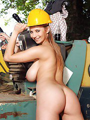 Hot teen girl Kathy freeing perfect juggs in shorts on construction site