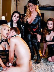 Alix Lynx and Eva Lovia dominate male stripper and female slaves in boots