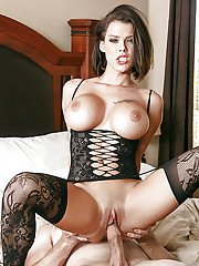 Hot wife Peta Jensen having big MILF tits bared before painful intercourse