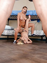 Busty pornstars Marsha May and Layla London apply tongues to cunts and cock