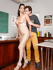 Latina MILF teacher Isis Love fucks student on desk in stockings and heels