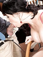 Over 40 brunette lady Angie Noir baring big boobs before anal sex in office