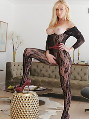 Leggy blonde pornstar loosing perfect big boobs from bodystocking in heels